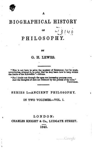Download A biographical history of philosophy.
