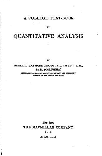 Download A college text-book on quantitative analysis