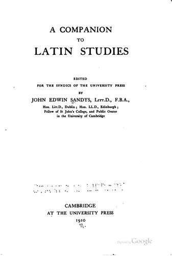 A companion to Latin studies