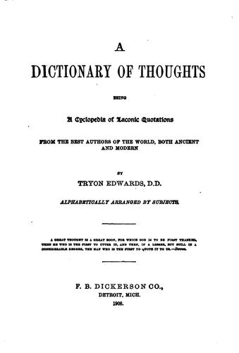 A dictionary of thoughts