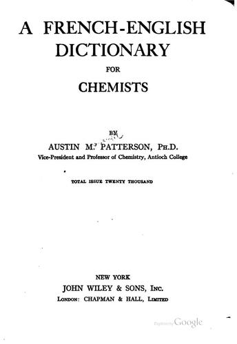 Download A French-English dictionary for chemists