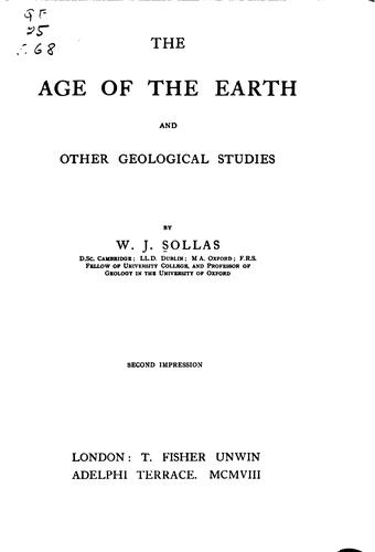 Download The age of the earth and other geological studies