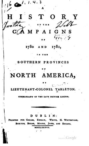 Download A history of the campaigns of 1780 and 1781