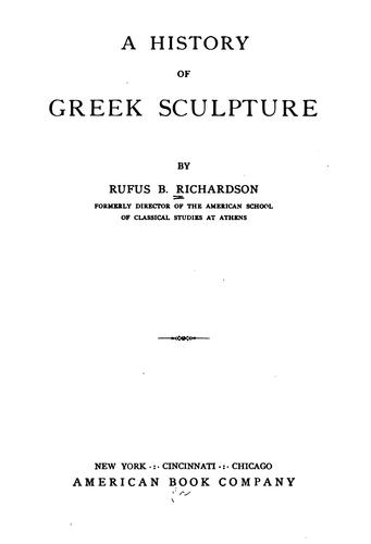 A history of Greek sculpture.