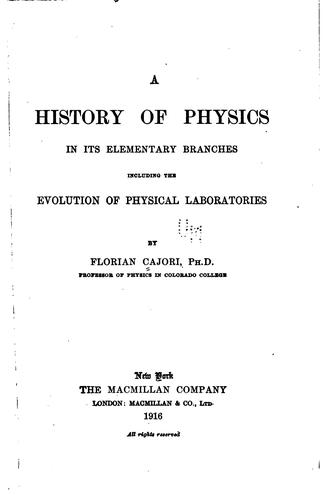 Download A history of physics in its elementary branches
