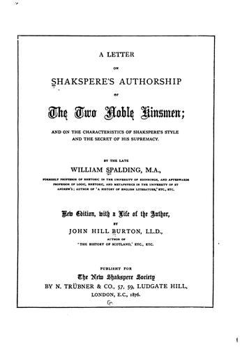 Download A letter on Shakspere's authorship of The two noble kinsmen