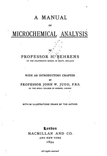 Download A manual of microchemical analysis