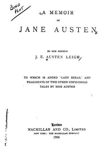 cover of  a memoir of jane austen by james edward austen leigh