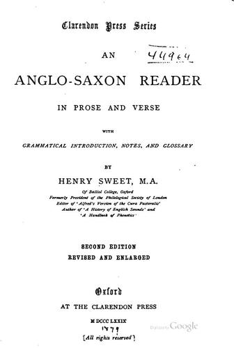 An Anglo-Saxon reader in prose and verse.