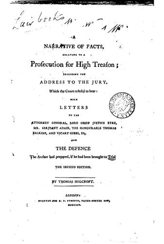 Download A narrative of facts, relating to a prosecution for high treason