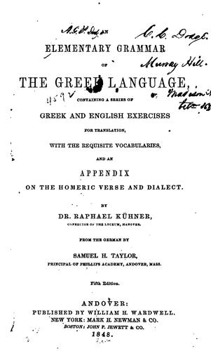 An elementary grammar of the Greek language