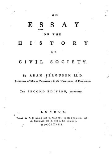 Download An essay on the history of civil society