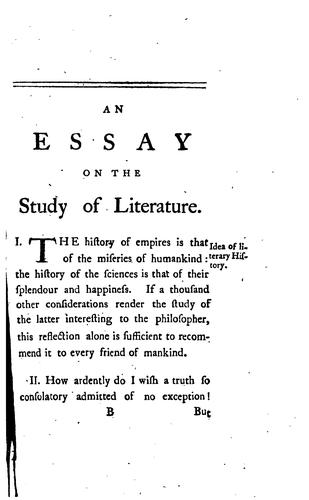 Download An  essay on the study of literature.