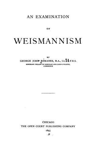 An examination of Weismannism.