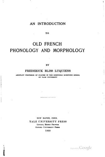 Download An introduction to Old French phonology and morphology