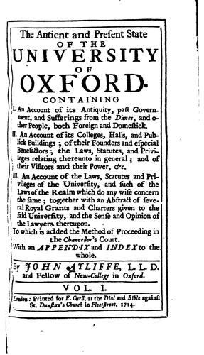 Download The antient and present state of the university of Oxford.