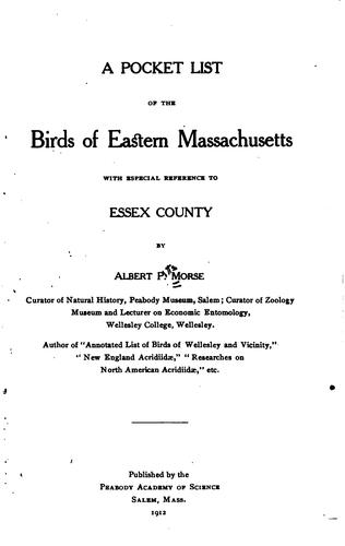 A pocket list of the birds of eastern Massachusetts
