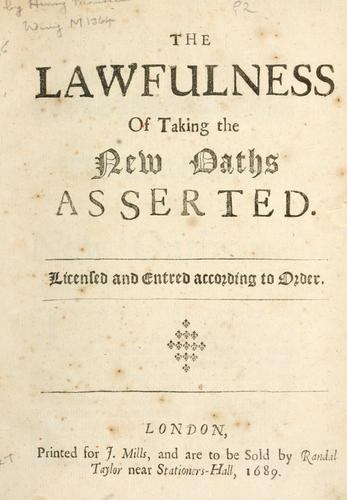 Download The lawfulness of taking the new oaths asserted.