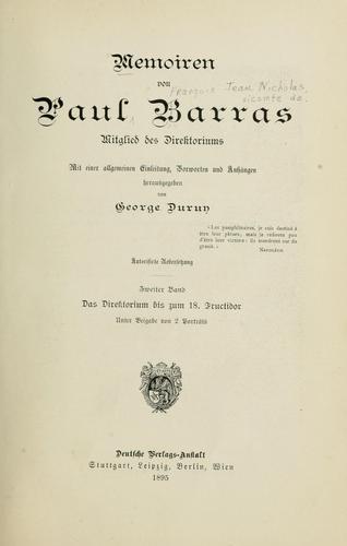 Memoiren von Paul Barras, mitglied des Direktoriums