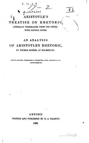 Aristotle's treatise on rhetoric