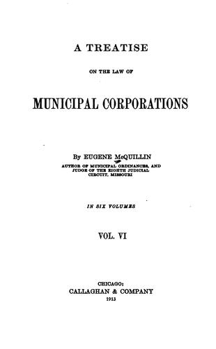 A treatise on the law of municipal corporations