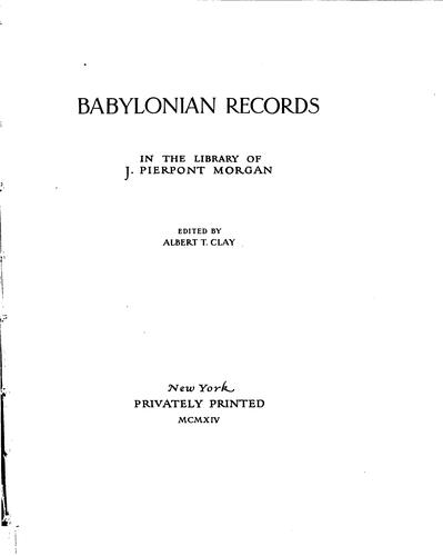 Download Babylonian records in the library of J. Pierpont Morgan