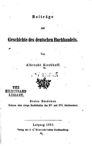 Beiträge zur geschichte des deutschen buchhandels.