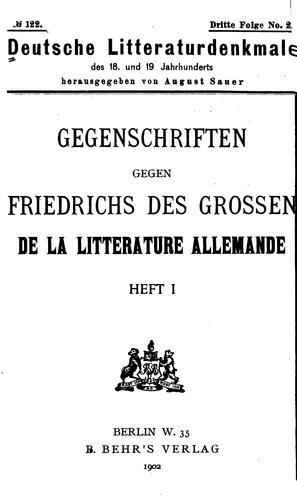 Download Über die deutsche Sprache und Litteratur (1781)
