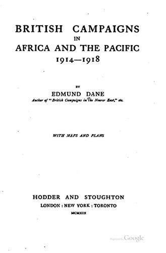 Download British campaigns in Africa and the Pacific, 1914-1918
