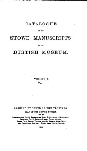 Download Catalogue of the Stowe manuscripts in the British museum …