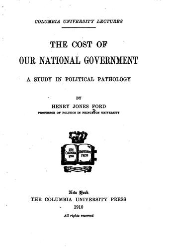 The cost of our national government