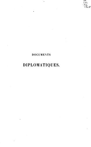 Documents diplomatiques.
