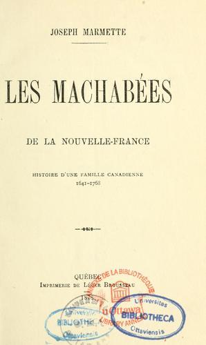 Les Machabées de la Nouvelle-France