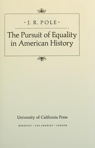 The pursuit of equality in American history