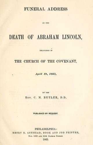 Download Funeral address on the death of Abraham Lincoln