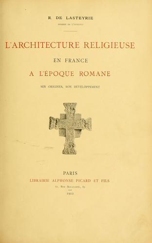 Download L'architecture religieuse en France à l'époque romane