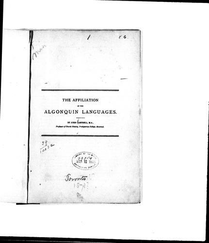 Download The affiliation of the Algonquin languages