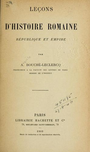 Download Leçons d'histoire romaine république et empire.