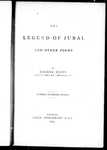 The legend of Jubal and other poems