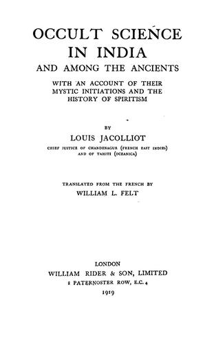 Download Occult science in India and among the ancients