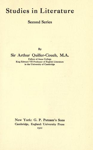 Studies in literature by Sir Arthur Thomas Quiller-Couch