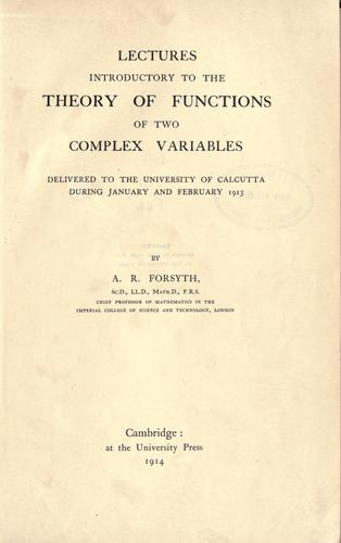 Lectures introductory to the theory of functions of two complex variables