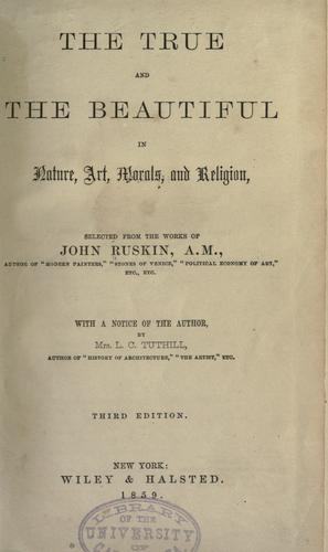 Download The true and the beautiful in nature, art, morals and religion