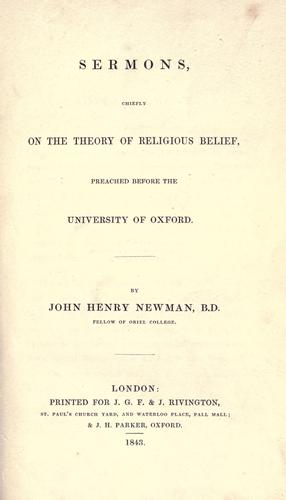 Download Sermons, chiefly on the theory of religious belief, preached before the University of Oxford