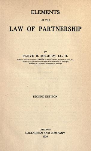 Download Elements of the law of partnership