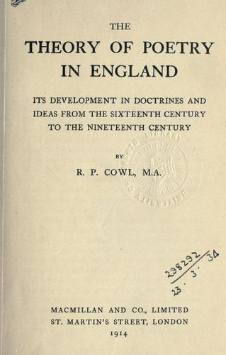 Download The theory of poetry in England