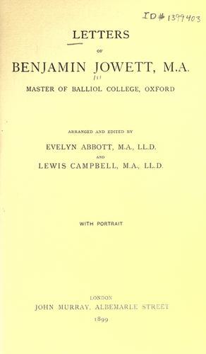 Letters of Benjamin Jowett…