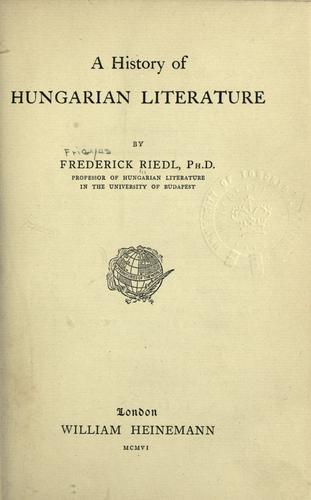 A history of Hungarian literature.