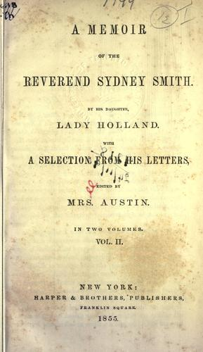 A memoir of the Reverend Sydney Smith.