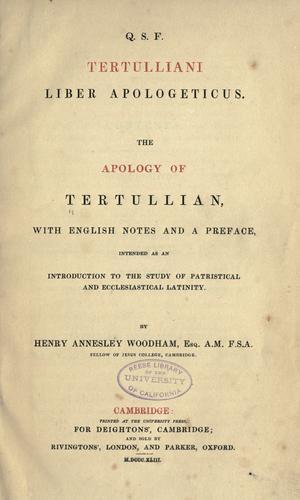 Q. S. F. Tertulliani liber apologeticus